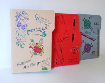 Handmade Journal, Hobbies Diary, Gardeners Book, Writing Journal, Knitting Diary, File Folder Journal, Junk Journal, Memories Book,