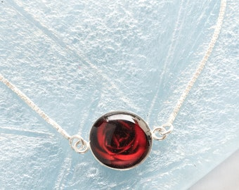Rose Photo Silver Bracelet, Real flower picture in Resin Bracelet, Artistic & Cute Jewelry Gifts for Her, Stylish thin bracelet for women