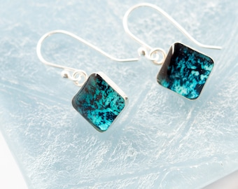 Artsy Earrings, Square Charm Earrings / Dangle Abstract Earrings, Dainty Earrings, Resin Jewelry / Bridesmaid Gift, Creative Gifts for Her