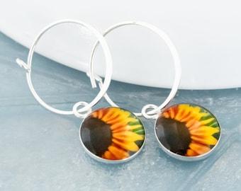 Sunflower Earrings / Silver Hoop Charm Earrings / Dangle Flower Earrings / Dainty Botanical Jewelry for Bridesmaid Gift