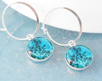 Artsy Earrings, Hoop Charm Earrings / Dangle Abstract Earrings, Dainty Earrings, Resin Jewelry / Bridesmaid or Coworker Gift for Her