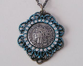 French Coin Necklace, Coin Necklace, Patina French Coin Necklace, Verdigris Filigree Coin Pendant, Verdigris Jewelry, Romantic Gift for Her