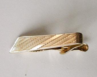 Men's Tie Clip, Vintage Goldtone Tie Clip, Diagonal Strip Pattern Vintage Tie Clip, Groomsmen Tie Clips, Groomsmen Tie Bars, Gift for Him