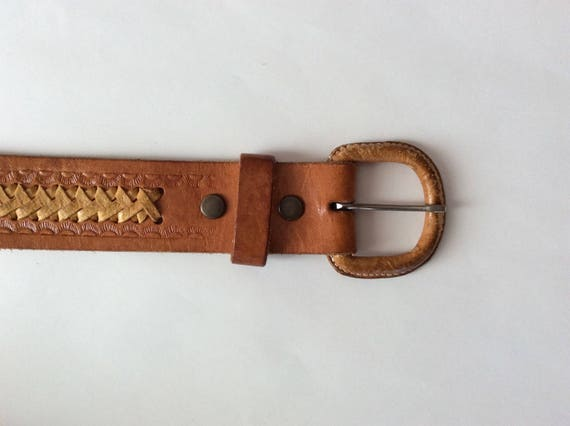 Hand Tooled Leather Belt, Scorpio Hand Made Leath… - image 2