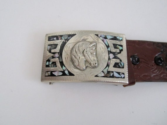 Vintage Belt with Horse Head Silver & Abalone Shel