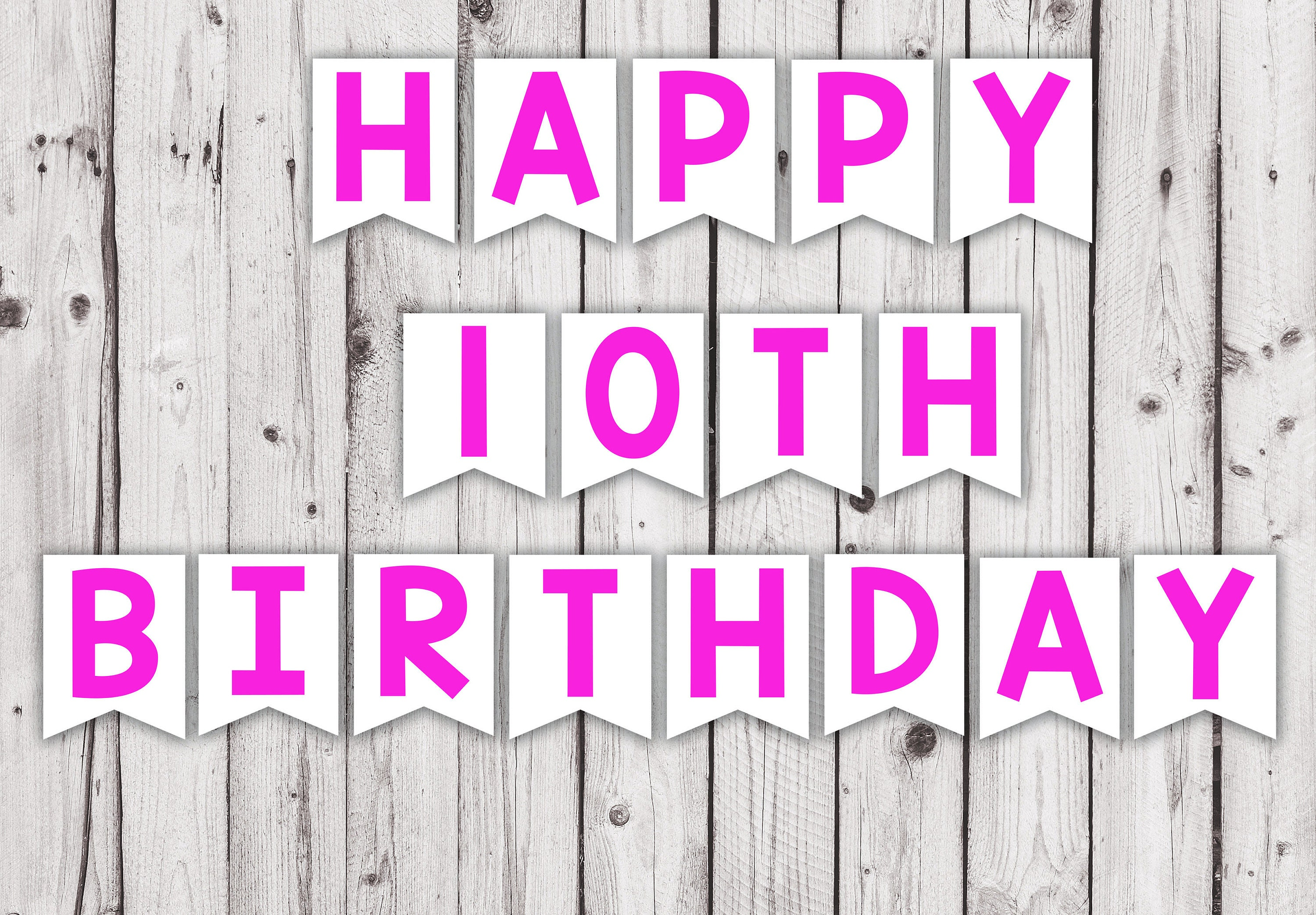 10th birthday printable banner hot pink color party pennant | Etsy