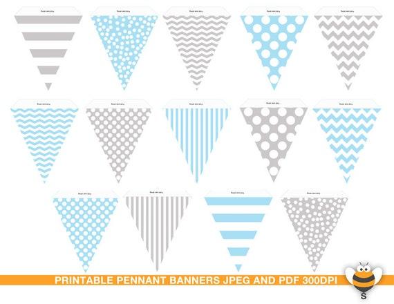 Azul pálido y gris banderines banderas imprimibles azul   Etsy