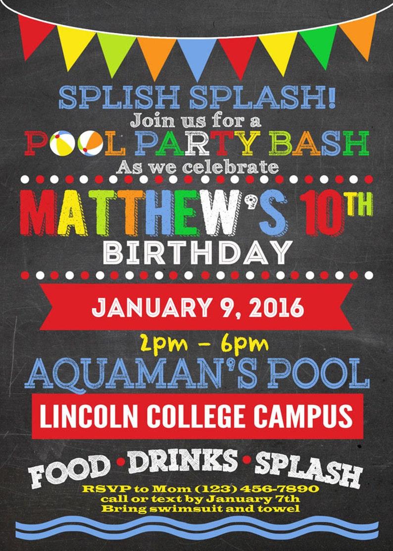 Custom Pool Party Bash Chalkboard Birthday Invitation