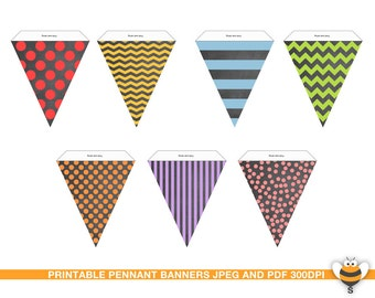 Printable chalkboard various colors bunting flags party decor pennant garland stripes, chevron. polka dots pattern birthday party decor