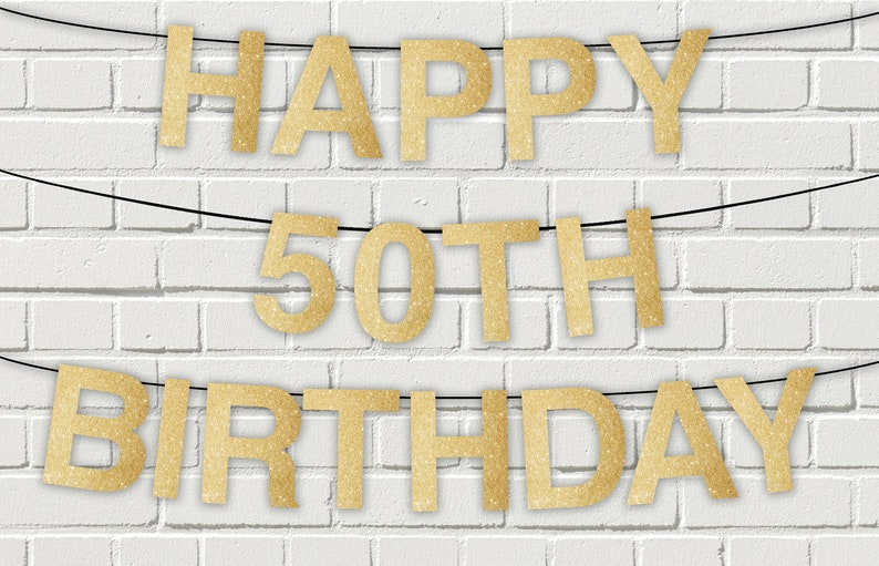image relating to Happy Birthday Printable Letters identified as Joyful 50th birthday gold glitter printable letters banner,pennant banner,Sparkly Glitter Joyful Birthday Banner,Prompt Down load electronic report