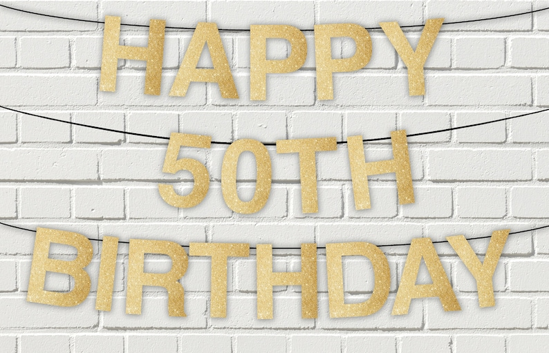 picture regarding Happy Birthday Printable Letters named Delighted 50th birthday gold glitter printable letters banner,pennant banner,Sparkly Glitter Pleased Birthday Banner,Prompt Obtain electronic document