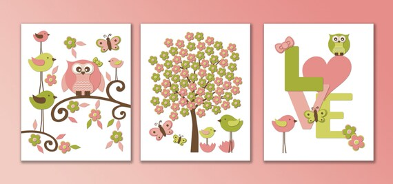 baby room wall prints pink and lime green and brown baby girl
