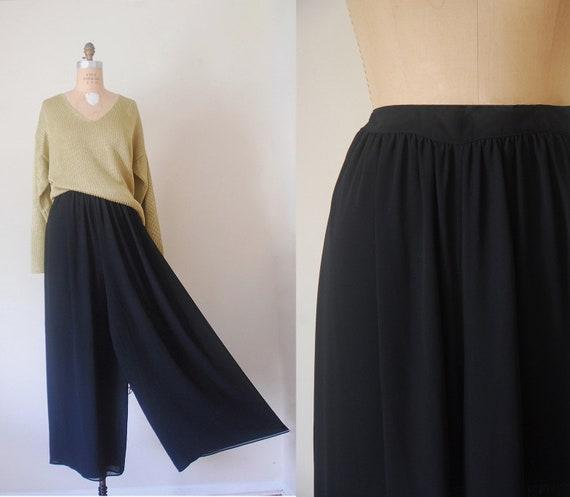 wide leg pants, sheer black pants