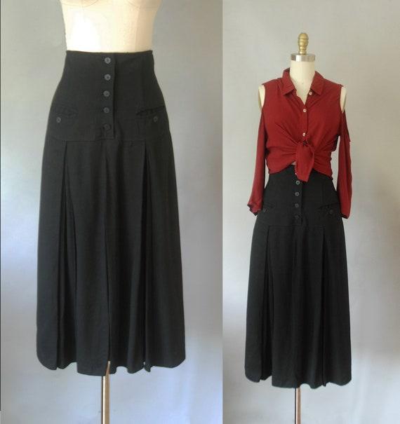 black high waist pleated skirt, midi skirts, prepp