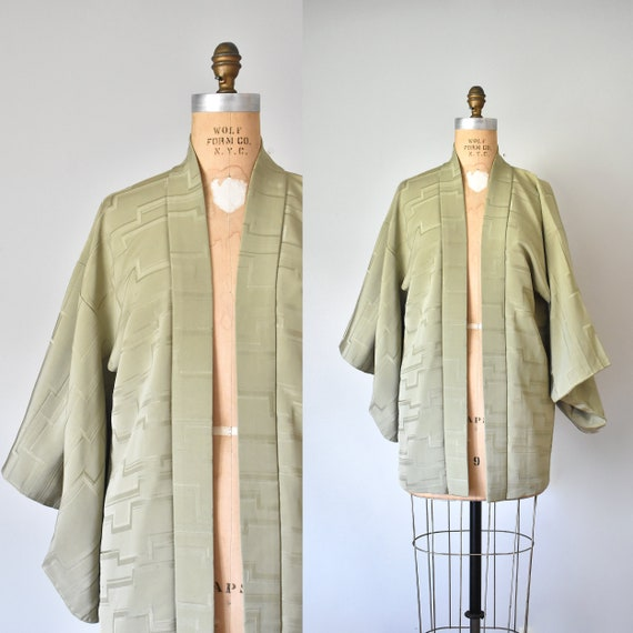 olive green kimono robe, silk robe, boudoir linger