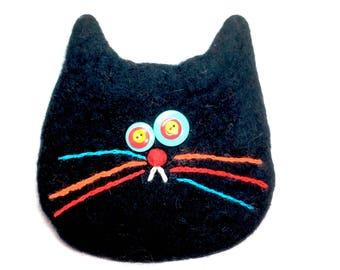 Black cat bag/cat gift/cats/2018/wool bag/change purse/cat bag/back