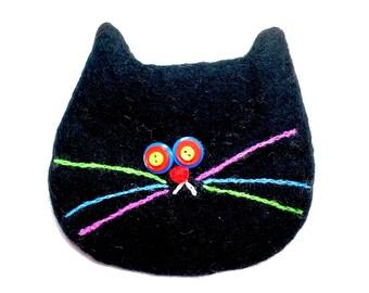 Black cat bag/Cats//gift/change purse/2018/wool bag/whiskers/cat bag/black