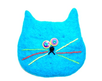 Turquoise cat bag/cats/change purse/2018/wool bag/gift/cat bag/blue/Turquoise
