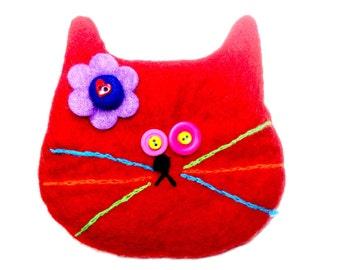 Red Cat Bag/cat bag/purse/change purse/cat rescue/red