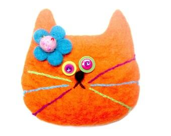 Orange Cat Bag/cat bag/Orange/felted wool/cat rescue