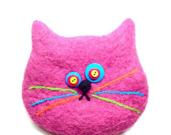 Pink Cat Bag/cat rescue/cat/gift/happy cat/pink/2018/change purse/paws/felted wool/cat bag/pink
