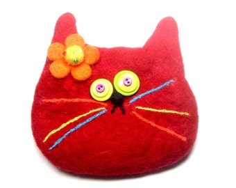 Red cat bag/cat purse/gift/cat rescue/Christmas gift/felted wool