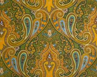 Vintage Paisley Fabric- 1960s- Printed Cotton