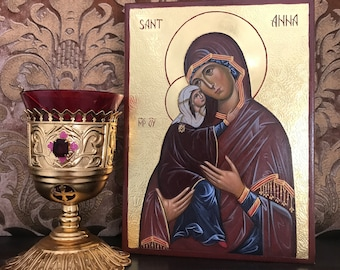 Saint Anna, the mother of the Theotokos icon, hand painted icons, iconography, iconographer, icon studio