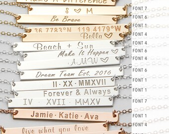 Bar Necklace Personalized, Custom Name, Gold Bar Necklace, Personalized Name Necklace, Mothers Gift, Mothers Necklace, Gifts For Her