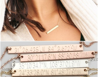 Latitude Longitude Necklace, Personalized Gold Bar Necklace, Rose Gold Bar, Personalized Gift, Bridesmaid Jewelry, Bridesmaid Gift