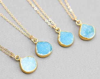 Round Druzy Pendant, Bridesmaid Necklace, Druzy Necklace, Tiny Stone Necklace, Simple Gold Necklace, Bridesmaid Jewelry, Simple Gemstone