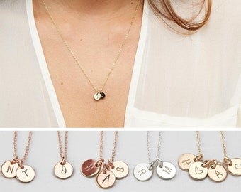 Personalized Initials Necklace, Custom Initials Disk, Mothers Necklace, Mom Jewelry, Custom Hand Stamped, Mom Necklace, Gift for Mom