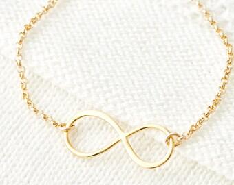 Freundschaftsarmband, Gold Unendlichkeit, minimale Schichtung Armband, Armbänder, in Silber, Rotgold, Geschenk für sie zu stapeln