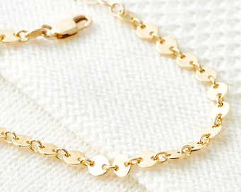 Goldene Kettenarmband, zierliche Armband - Gold Disk, schlicht, Schichtung Armband, Minimal Schmuck stapeln