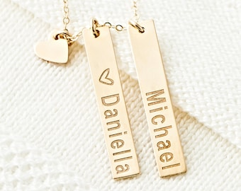 Multiple Gold Bar Necklaces With Heart Tag, Custom Name, Initials, Dates, Mothers Necklace in Sterling Silver, Rose Gold Filled, Gold Filled