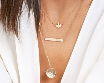 Gold Bar Necklace Layering with Dove Necklace, Personalized Disk Necklace, Custom Initials, Stamped Name Necklace