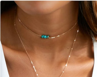 Chain Choker Necklace, Turquoise Necklace Beaded Choker, Simple Gold Choker Necklace in Sterling Silver, Rose Gold Filled, Gold Filled