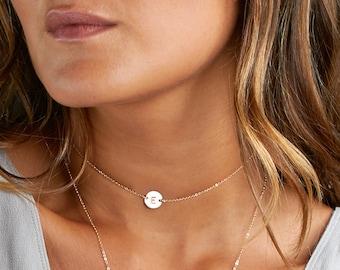 Initial Choker Necklace, Gold Name Choker, Simple Choker Gold, Chain Choker, Personalized Initial Necklace, BLUSHESANDGOLD