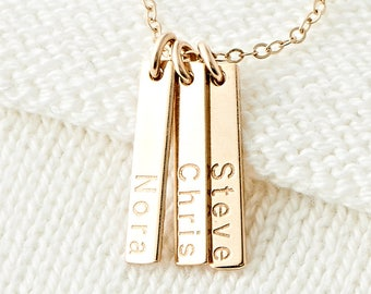 Cute Tiny Personalized Bar Necklace, Multiple Dainty Custom Name Necklace, Custom Initial Necklace, Mothers Necklace Gift