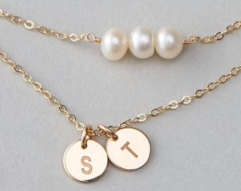 Personalized Disk Necklace Set, Tiny Pearl Choker Necklace, Custom Childrens Initials, Custom Hand Stamped, Gift for Mom Necklace