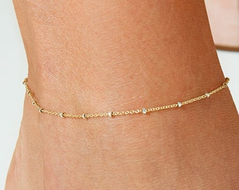 Anklet Bracelet Anklet Bead Bracelet Gift for Her Dainty Gold Anklet Gold Anklet Bracelet Chain Anklet Rectangle Chain Anklet