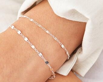 Double Dainty Chain Bracelet, Delicate Chain Gold Bracelet, Dainty Stacking Bracelet, or Rose Chain, Dainty Layering Bracelet