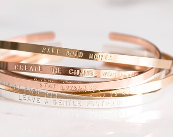 Rose Gold Cuff Bracelet, Thin Rose Gold Filled Cuff, Personalized Rose Gold Bangle, Inspirational Jewelry, Gift For Her