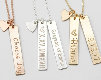 Vertical Gold Bar Necklace, Valentine's Day Gift, Mother's Necklace, Gold Nameplate, Custom Initial Bar Necklace, Gift for Wife