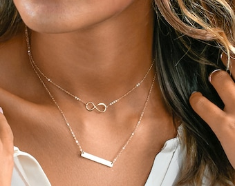 Delicate Choker Necklace, Dainty Choker Necklace With Name Bar Necklace, Chain Choker, Delicate Layered Necklace, Personalized Name Plate