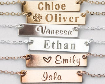 Small Name Necklace, Gold Bar Necklace, Custom Names, Initials, Dates, Sterling Silver, Gold Filled, Rose Gold Filled