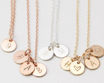 Tiny Disk Necklace, Personalized Custom Initials, Mothers Necklace, Circle Tags, Custom Hand Stamped, Mom Necklace Perfect Gift for Mom