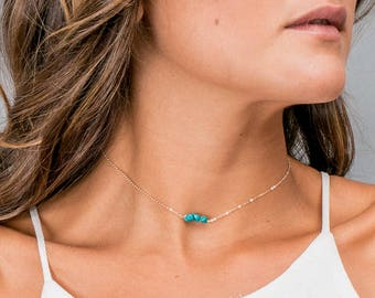 Dainty Turquoise Choker Necklace, Simple Turquoise Necklace, Beaded Chain Choker, Short Layering Necklace, Custom Best Friend Necklace