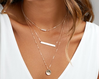 Personalized Layered Necklace, Gift Mom, Engraved Bar Necklace Birthstone, Simple Layering Necklace, Bridesmaid Necklace
