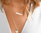 Layering Necklaces Set With Gold Bar Necklace, Personalized Custom Name, Delicate Layering Jewelry in Sterling Silver